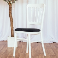 White Cheltenham Chair with Black Seat Pad