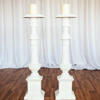 Ivory Church Candle Stick Holders