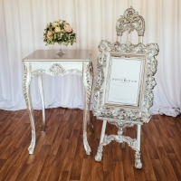 Silver Easel and Table with Silver Poseur Table