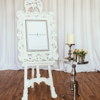 White Easel and Mirror with Chrome Side Table