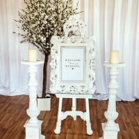 White Easel and Mirror with Large Ivory Candle Stick Holders