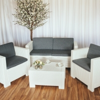White Rattan Outdoor Furniture Set