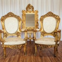 French Gold Throne - Set 1 with Gold Easel and Mirror