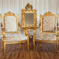French Gold Throne - Set 2 with Gold Easel and Mirror