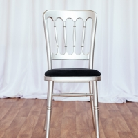Silver Cheltenham Chair with Black Seat Pad