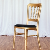 Gold Cheltenham Chair with Black Seat Pad