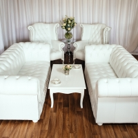 2x 3-seater sofa set with High Wing-Backed Armchairs and White Gloss Coffee Table