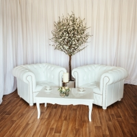 Low Back Matching Armchairs with White Gloss Coffee Table