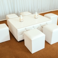 White Leather Chesterfield Coffee Table with 6 Low Level Leather Stools