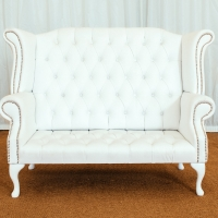Queen Anne High Back Two-Seater Love Seat